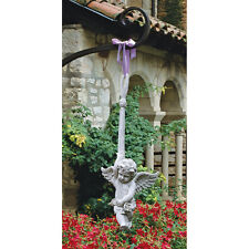 Playful Swinging Baby Angel Cherub Garden Flowerbed Hanging Sculpture