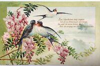 16249 Kitsch Ak ,en Relieve, Paisaje de Primavera, Golondrinas, Gedichtspruch Um