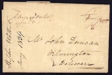 1834 US Stampless folded letter w/Abington MD manuscript pmk to Wilmington, DE