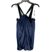 Vince Womens Halter Top Small Navy Blue Silk Stretch Sleeveless Draped Tunic S