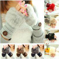 Fashion Women Knitted Fingerless Winter Gloves Soft Faux Rabbit Fur Warm Mitten