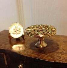Dolls House Dollhouse 1:12 Miniature Fancy Gold-plated Brass Cake Stand Plate