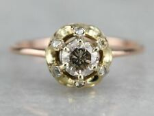 Champagne and Rose Cut Diamond Engagement Ring