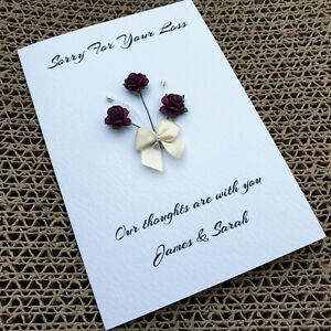 Personalised Sympathy Bereavement Card Handmade With Deepest Thoughts Thinking