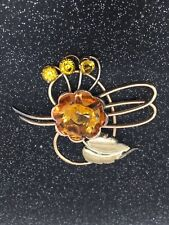 Harry Iskin 1/20 10k citrine stone pin brooch yellow color!!!