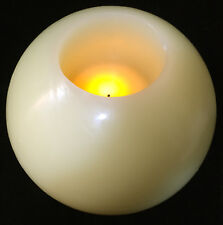 Large Candle Centerpiece Round Battery Operated Yellow Ball Flickering Light Wax
