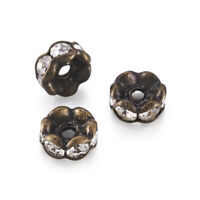 Antique Bronze Nickel Free Wavy Edge Grade AAA Brass Rhinestone Spacer Beads