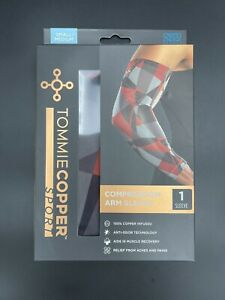 Compression Sports Arm Sleeve S/Medium Geo Red, Gray, and Black Patterns