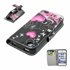 Heart PU Leather Flip Card Wallet Cover Case Skin For Apple Iphone 4 4G 4S 4GS