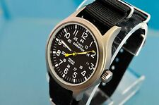 VINTAGE TIMEX MILITARY STYLE BLACK FACED 24 HOUR 40mm WATCH
