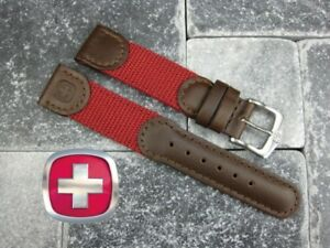 New Brown Leather Strap Nylon Watch Band 21mm 22mm Wenger Swiss Army Red