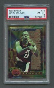 1993 Topps Finest Basketball CLYDE DREXLER #74 PSA 8 NM-MT Trailblazers