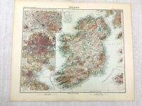 1907 Antique Map of Ireland Eire Dublin County Cork Wexford Irish Counties