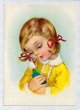 S0490cgt Cute Girl with doll yellow jumper Kruger vintage postcard