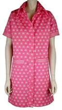 LANVIN VINTAGE ICONIC LOGO PRINT HOT PINK SHIRT DRESS, SHORT SLEEVE, SIZE 10