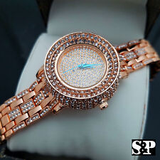 Womens Luxury Bling Rose Gold finished Simulated Diamond Bracelet Clubbing Watch