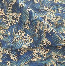 50x150cm Cotton Linen Fabric DIY Craft Material Sea Wave Water Spray Blue F10 F