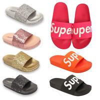 Ladies Womens Glittery Slides Mules Slip On Flip Flops Summer Beach Sandals Size