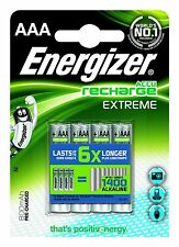 Energizer AAA Rechargeable 800mAh 4 Pack HR03 MN2400 Extrême Piles NiMH