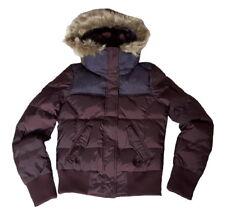 adidas NEO Women's Panel Down Hooded Fur Jacket - Medium - Dark Plum - New