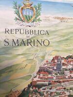 Antique Print 1955 Castelli Franco Bird View Of Republic Of  S  Marino Signed