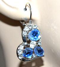 ORECCHINI CUORI strass cristalli blu argento bigiotteria festa san valentino G11