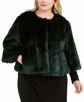 Calvin Klein Womens Jacket Green Size 1X Plus Faux-Fur Shrug Pocket $169 184
