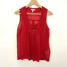 Joie Red Square Swiss-dot Cotton Silk Blend Sleeveless Tank Top Women's Size M