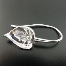 10Pcs Silver Tone Copper Graceful Leaf Earring Stud Setting Finding Charm 06670