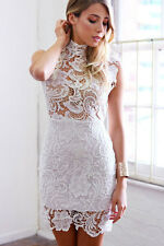White Ivory Baroque Lace Overlay Mock Neck Collar  Bodycon Dress 21727