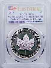 2019 $5 Canadian Silver Maple Leaf Modified Proof PR70 FS Pride of Two Nations