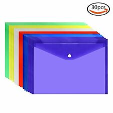 30pcs Clear Document Folder With Snap Button, Premium Quality Poly Envelope