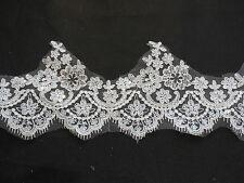 Ivory Sequins Eyelash lace trim Bridal Wedding veil/ hemming lace trim Per Yard