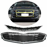 Honeycomb Mesh Chrome Front Bumper Upper & Lower Grille for Chevy Malibu 2016-18