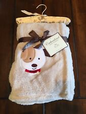 New Infant Boys Baby Blanket Embroidered Dog