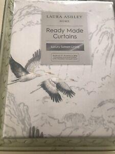 "Animalia silver curtains 64"" x 72"" 162cm x 183cm cranes birds"