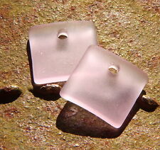 2 pcs.(18X18mm )   BLOSSOM PINK Small Sea Glass Square Earring Pendant Beads