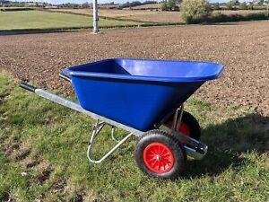 200L WHEELBARROW Stable Garden Twin Wheel Barrow Large 200 Litre Blue Big