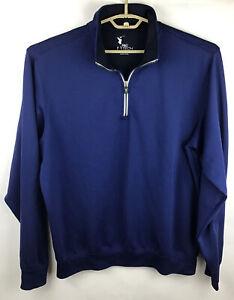 Fairway & Greene Tech Mens 1/4 Zip Pullover Golf Jacket XL Blue LS Sweater EUC
