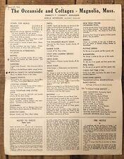 Vintage The Oceanside And Cottages Magnolia MA Hotel Restaurant Activity Sheet