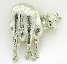"Vintage cow brooch metal silver colored 2.5"" retro jewelry 80s gift farm animal"