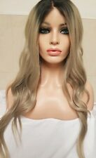 Dark Sandy Blonde Grey Human Hair Wig Ombre Lace Front