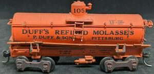 ROUNDHOUSE: Duff's Molassas #105 XF Pittsburg TANK CAR. VINTAGE HO SCALE, Orange