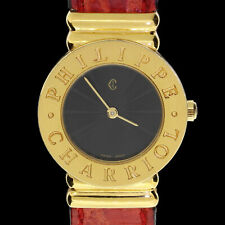 VTG Ladies Philippe Charriol St Tropez Gold Plated Rare Black Dial Quartz Watch