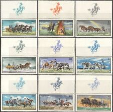 Hungary 1968 Horses/Sleigh/Animals/Nature/Transport/Rainbow 9v + lbl set n17761a