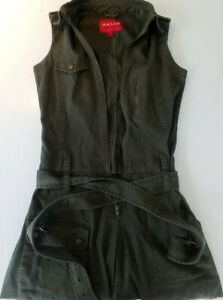 AXARA Combinaison Jean Vert Kaki Sans Manches Pantalon Zipper T 36 TBE