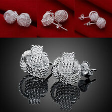Fashion 925 Sterling Solid Silver Plated Tennis weaving earrings #089 Hot Pop
