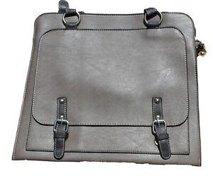 Ladies Large Satchel Style Handbag in Khaki Brown