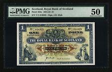 SCOTLAND , ROYAL BANK 1 POUND 1951 1952 PMG 50 ABOUT UNCIRCULATED P.322C