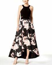 862d6ed1 Xscape Womens Black Pink Floral Mesh Inset Hi-low Halter Gown Dress Size 12